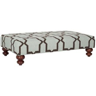 Moorish Tile Light Blue Dhurrie Rug Ottoman