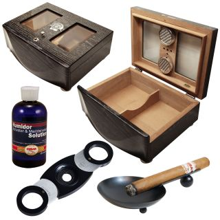 Cuban Crafters Black Humidor and Cigar Accessories Set