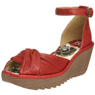 London Womens Yva Open Toe Wedge,Red,41 EU (US Womens 10 M) Shoes
