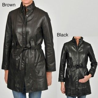 Knoles & Carter Womens Belted Leather Jacket