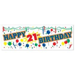 Happy 21st Birthday Sign Banner Party Accessory (1 count