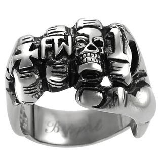 Daxx Mens Stainless Steel Fist Biker Ring