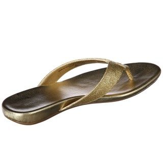Nine West Womens Heydarling Gold Flat Thong Sandals