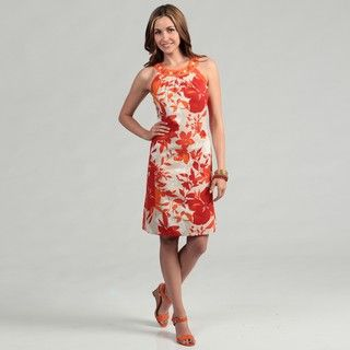 Jessica Howard Womens Floral inspired Embellished Jewel Neckline