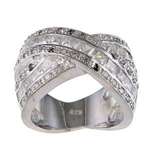 Sterling Silver Clear Cubic Zirconia Criss cross Ring
