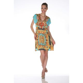 White Mark Womens Ibiza Gold and Turquoise Printed Sleeveless Dress