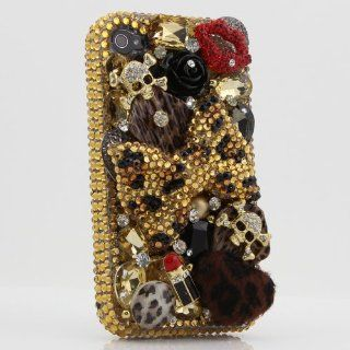 3D Swarovski Leopard Crystal Bling Case Cover for iphone 4