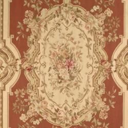 Hand knotted French Aubusson Burgundy/ Ivory Wool Rug (12 x 18
