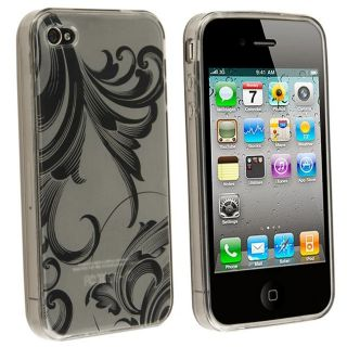Clear Smoke Flower TPU Rubber Skin Case for Apple iPhone 4