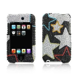 Apple iPod Touch Silver Star Design Full Diamond Case