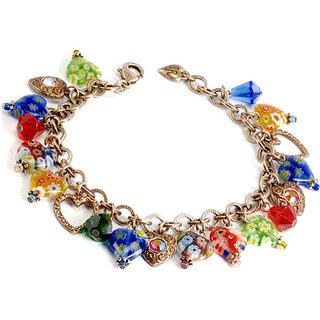 Sweet Romance Candy Glass Hearts Charm Bracelet