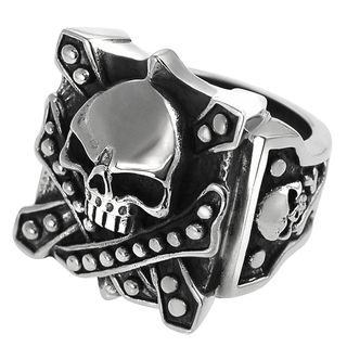 Daxx Mens Stainless Steel Skull Biker Ring