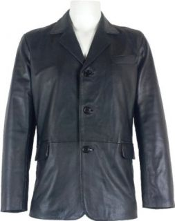 Mens Classic Blazer Black leather jacket #B5 Clothing