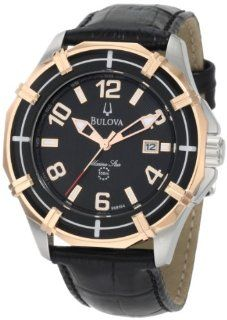 Bulova Mens 98B154 Solano Marine Star Leather strap Watch Watches