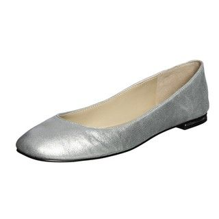 Nine West Womens On High Silver Leather Flats