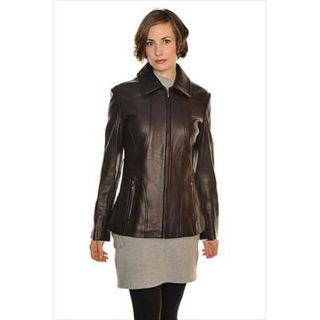 Liz Claiborne Womens Seamed Leather Jacket