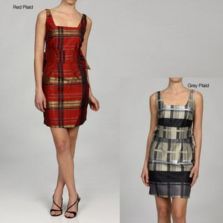 Issue New York Womens Sleeveless Plaid Dress