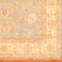 Afghan Hand knotted Vegetable Dye Light Blue/ Ivory Wool Rug (8 x 10