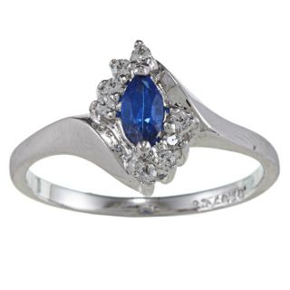 Sterling Essentials Silver Marquise cut Blue Cubic Zirconia Ring Today