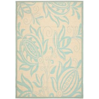 Poolside Cream/ Aqua Indoor Outdoor Rug (4 x 57)