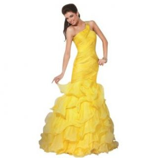 GEORGE BRIDE Yellow Ball Gown One Shoulder Floor Length