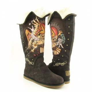 Ed Hardy Womens Brown Faux Fur lined Boots