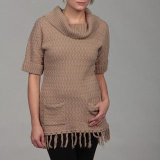 Premise Womens Beige Cuffed Ribbed Short sleeve Sweater FINAL SALE