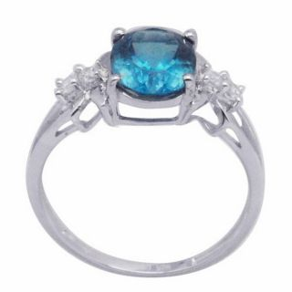 De Buman Sterling Silver Blue Topaz and Cubic Zirconia Ring