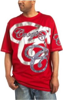 Coogi Mens Cotton Swirl C Short Sleeve Tee, Red/Grey