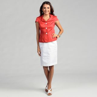 Calvin Klein Womens Coral/ White Three button Skirt Suit