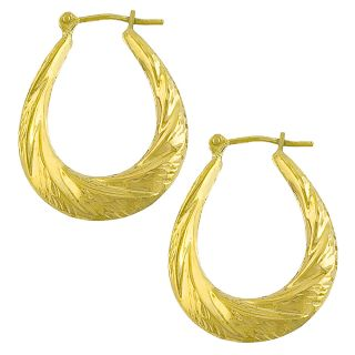 10k Yellow Gold Diamond cut Twist Oval Hoop Earrings