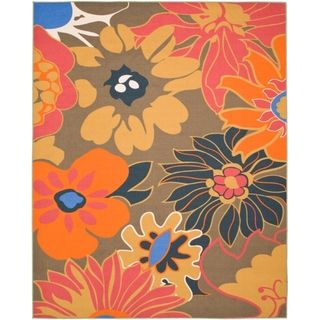 Metropolis Botanical Brown Rug (8 x 10)