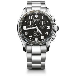 Swiss Army Mens Chrono Classic Black Dial Steel Band Watch