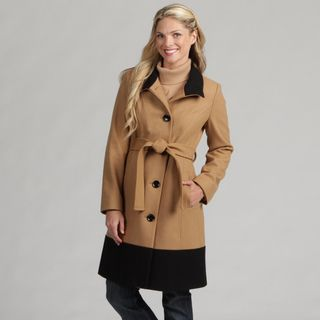 AK Anne Klein Womens Belted Long Wool Coat