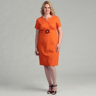 Jessica Howard Womens Plus Size Orange Belted Short sleeve Dress
