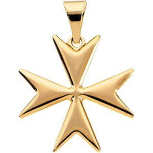 14k Yellow Gold Maltese Cross Pendant 18mm   JewelryWeb