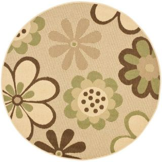 Indoor/ Outdoor Natural/ Olive Rug (67 Round)