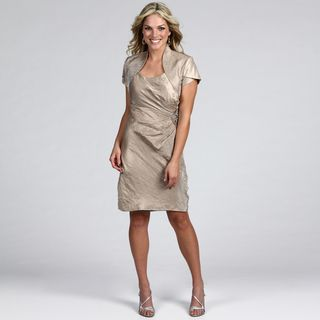 Jessica Howard Womens Taupe Beaded 2 piece Dress