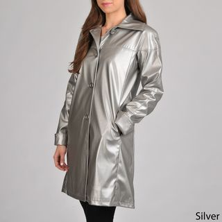 Excelled Womens Faux Leather Swing Coat