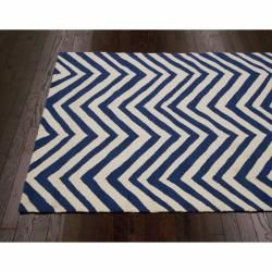 Handmade Chevron Indoor/ Outdoor Blue Rug (8 x 10)